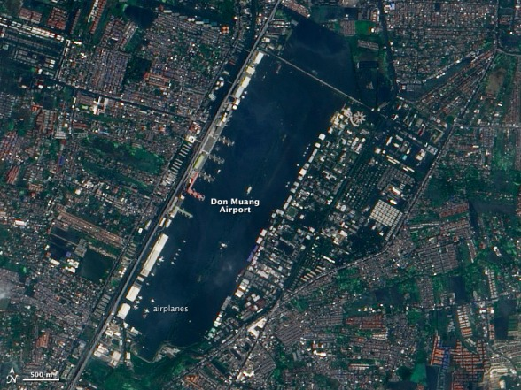 Flood Waters Inundate a Bangkok Airport